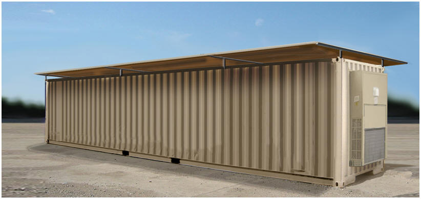 ISO Shelter energy reduction via solar power generation and reduced air conditioning requirements.